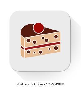 vector cake slice icon. Flat illustration of cake. dessert cake isolated on white background. sweet dessert sign symbol
