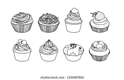 Vector cakes cupcakes sweets outline set