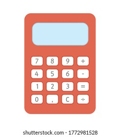 Vector calculator icon. Back to school educational clipart. Cute flat style illustration. Learning, education, or math subject concept