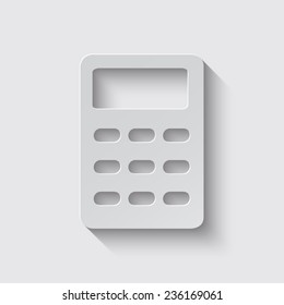vector calculator icon with shadow on a grey background