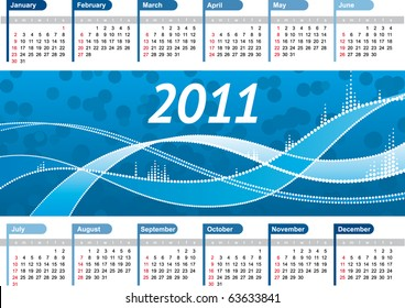 Vector Calendar 2011 with blue winter background