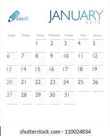 Vector calendar 2013 January