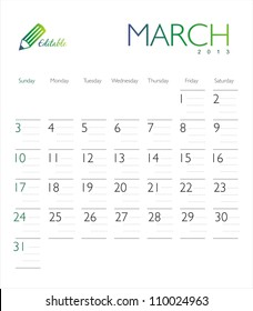 Vector calendar 2013 March