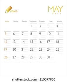 Vector calendar 2013 May