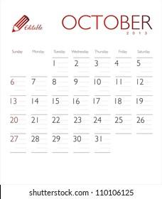 Vector calendar 2013 October