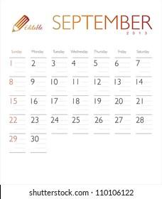 Vector calendar 2013 September