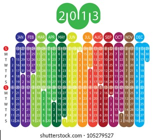 Vector Calendar for 2013 year with graphic elements