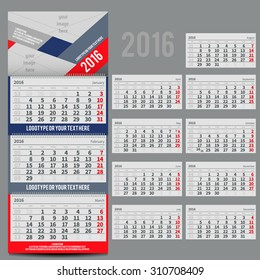 Vector calendar 2016 - Planner for three month includes space for yur photo and text