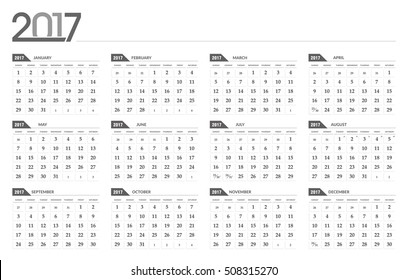 Vector calendar 2017. In 12 month version