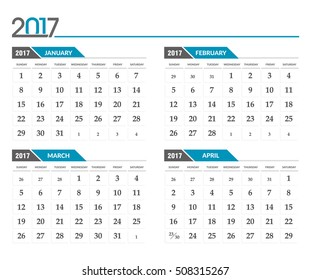 Vector calendar 2017. In 4 month version, January, February, March, April