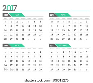 Vector calendar 2017. In 4 month version, May, June, July, August