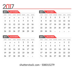 Vector calendar 2017. In 4 month version, September, october, November, December
