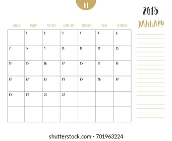 vector of calendar 2018 january in simple clean table style with note line in