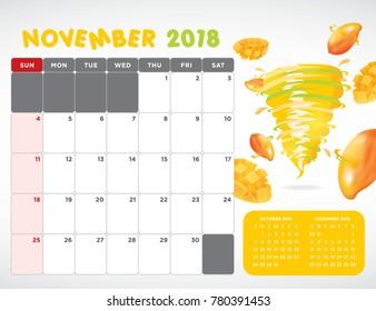 Vector calendar 2018 November