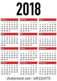 Vector Calendar 2018. Week Starts from Sunday.