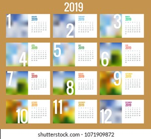 Vector Calendar for 2019 year. Vector design print template with place for photo. Set of 12 calendar pages. Stationery design