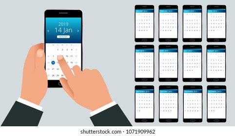 Vector Calendar for 2019 year. Hand with a smartphone with a calendar, one month plans. Design print template. Set of 12 calendar pages.