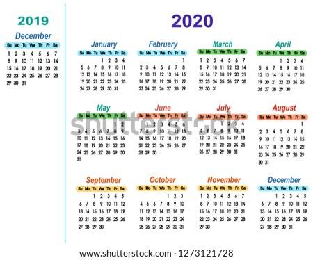 Vector Calendar 2020 One Month 2019 Stock Vector Royalty Free