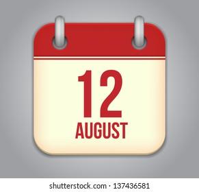 Vector calendar app icon. 12 august