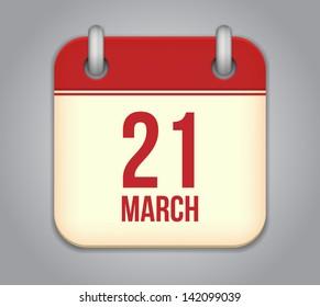Vector calendar app icon. 21 March