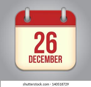 Vector calendar app icon. 26 December