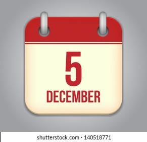 Vector calendar app icon. 5 December