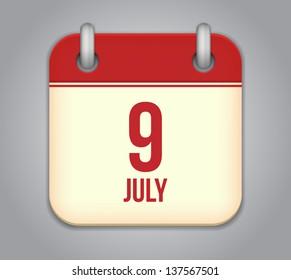 Vector calendar app icon 9 july