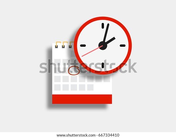 Calendario vectorial e icono de reloj. Programación, cita, concepto de fecha importante. Ilustración moderna de diseño plano