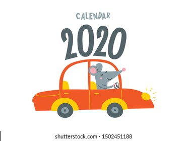 Vector calendar cover with cute rat travel by car - Chinese symbol of 2020 year. Editable template A5, A4, A3 size, can be printed and used as a desk, table, wall calender for schedule and plans