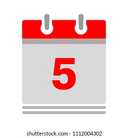 vector calendar date - day five - business office event sign, reminder icon