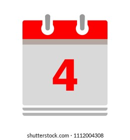 vector calendar date - day four - business office event sign, reminder icon