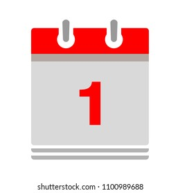 vector calendar date - day one - business office event sign, reminder icon
