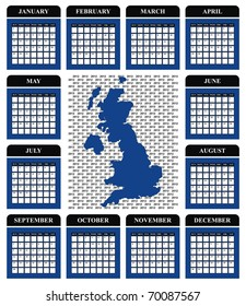 VECTOR - Calendar Design 2012 with UK Map - Marine Blue and Black