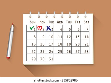 Vector calendar with handwritten notes - check, heart and cross, you can change the size and color as you need