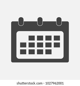 Vector Calendar icon in flat style on grey background