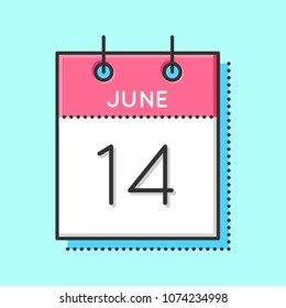 Vector Calendar Icon. Flat and thin line vector illustration. Calendar sheet on light blue background. June 14th. World blood donor day. USA flag day.