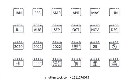 Vector calendar icons. Editable stroke. Icon with months of the year, 2020 2021 2022. Question sign 25 clock timetable schedule. Shopping time, cart gift birthday cake.