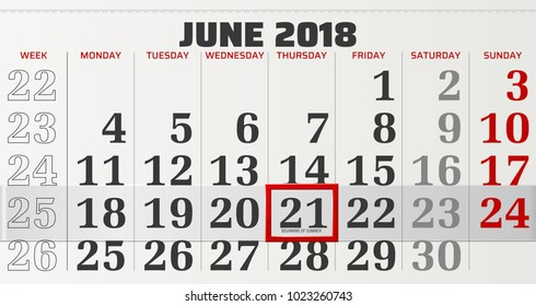 vector calendar of june 2018 with slidable red frame and beginning of summer in focus