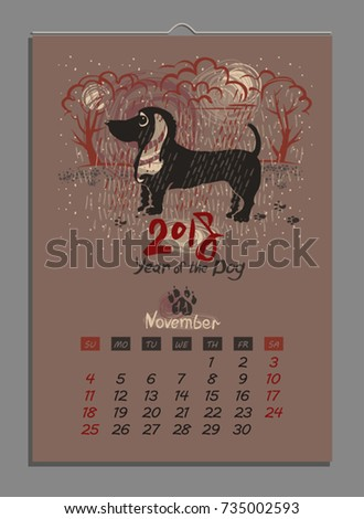 vector calendar for november 2018 year of the dog hand drawn illustration and letters