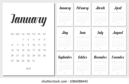Vector Calendar Planner for 2019 Year. Handwritten lettering. Set of 12 Months. Week Starts Sunday. Stationery Design. Objects isolated on white background.