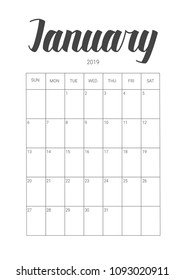 Vector Calendar Planner for January 2019. Handwritten lettering. Week Starts Sunday. Stationery Design. Objects isolated on white background.