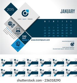 Vector Calendar Template 2015- promote your business! EPS 10