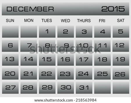 Vector Calendar Template Application December 2015 Stock Vector