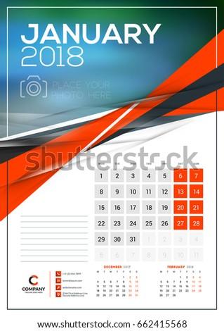 Vector Calendar Template January 2018 Vector Stock Vector Royalty