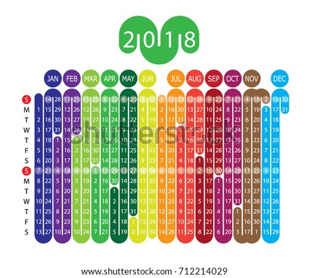Vector Calendar With A Unique Design For 2018