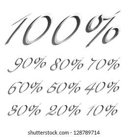 vector caligraphic platinum font Percents templates for sale 100%, 90%, 80%, 70%, 60%,  50%, 40%, 30%, 20%, 10%