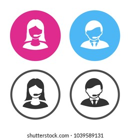 Vector call center black icon. Support and consulting concept. Buttons for business projects,  symbols for mobile apps and service live call and chat. Silhouette of operator, consultant, assistant