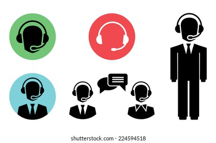 vector call center icons of operator in headset