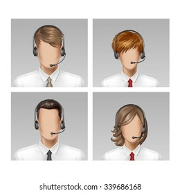 Vector Call Center Oprator Male Female Face Avatar Profile Head Hair Icon Set Isolated on Background