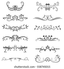 Vector of calligraphic design elements in black lines swirl on white background, border